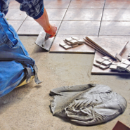 a man working on tiles