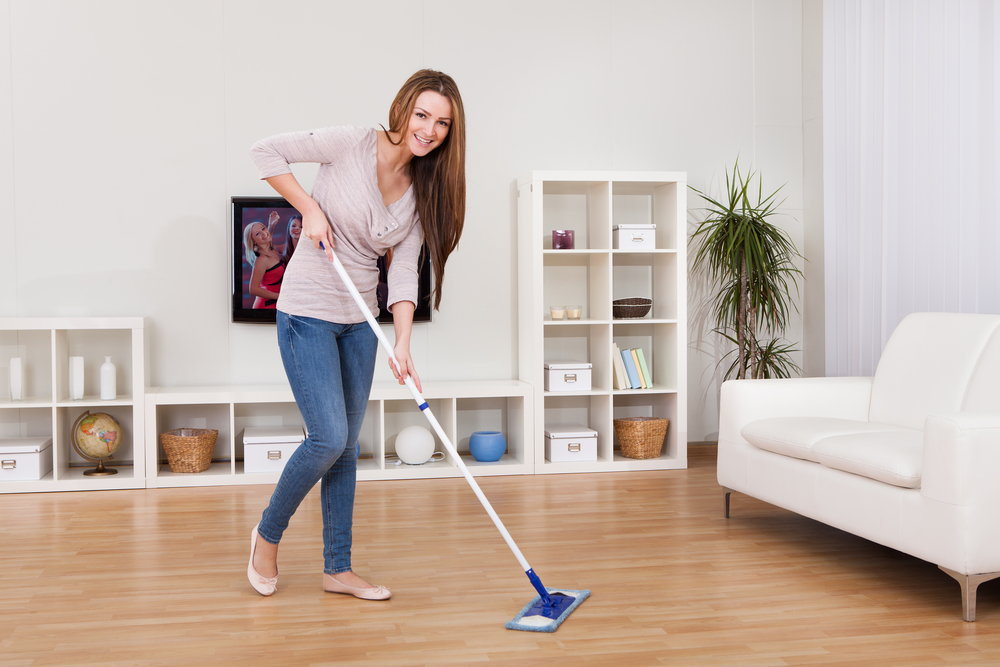 a woman mopping