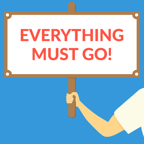 "an illustration of a hand holding up a signage that says, ""everything must go"""
