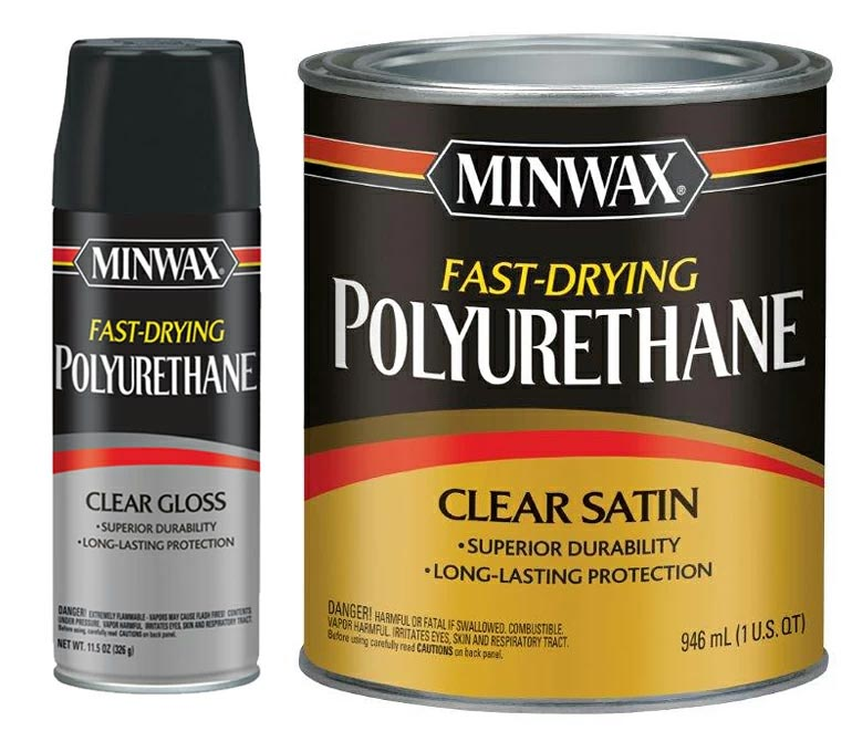 product photo of minwax fast-drying polyurethane, clear gloss and clear satin